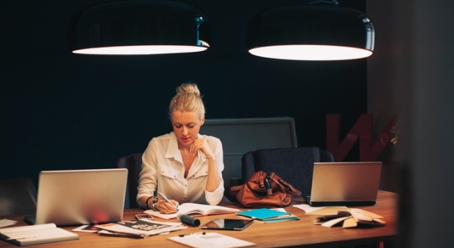 Woman working in office.